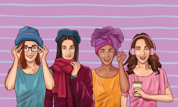 Pop art fashion et dessin animé de belles femmes