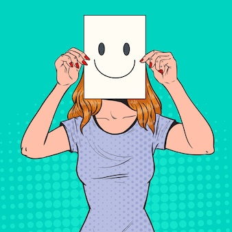 Pop art femme avec émoticône smiley sur feuille de papier