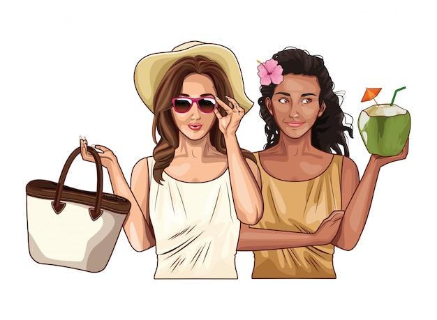 Pop art femmes amis souriant dessin animé