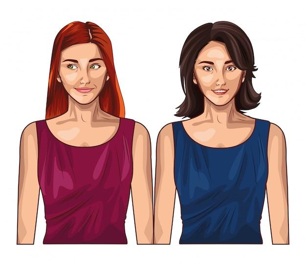 Pop art femmes modèles souriant dessin animé