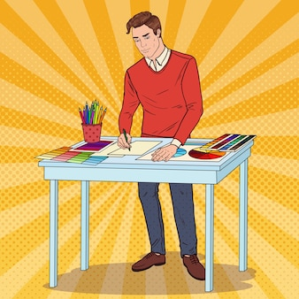 Pop art graphic er avec des outils de travail. concept d'illustrateur créatif.