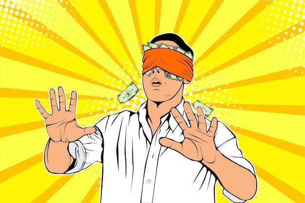Pop art homme d'affaires avec un billet en dollars collé aux yeux