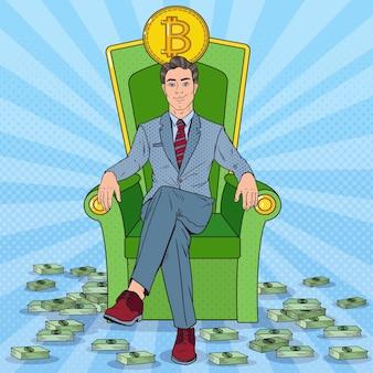 Pop art homme d'affaires prospère assis sur le trône