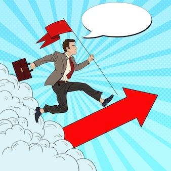Pop art homme d'affaires prospère avec drapeau en cours d'exécution vers le haut. leadership de motivation commerciale.
