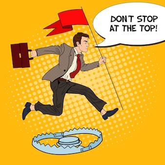 Pop art homme d'affaires prospère avec drapeau sautant par-dessus le piège.