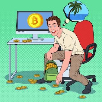 Pop art homme d'affaires prospère a mis des bitcoins dans un sac à dos