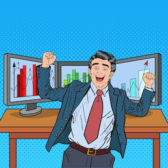 Pop art homme d'affaires prospère avec des ordinateurs et des graphiques de parts de marché croissantes.