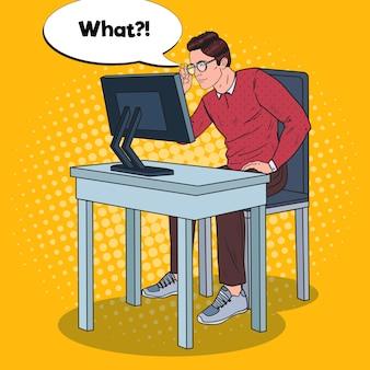 Pop art jeune homme aux yeux faibles travaillant à l'ordinateur