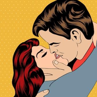 Pop art kissing couple