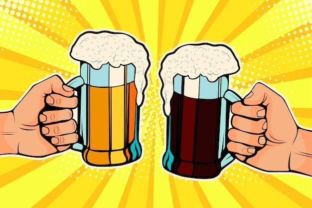 Pop art des mains avec des chopes de bière. fête de la fête de la bière.