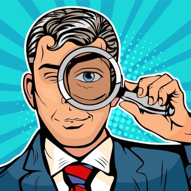 Pop art man est un détective regardant à travers une loupe