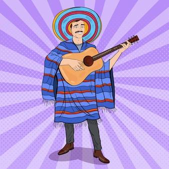 Pop art mariachi jouant de la guitare. homme mexicain en poncho et sombrero