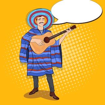 Pop art mariachi mexican man in poncho et sombrero jouant de la guitare