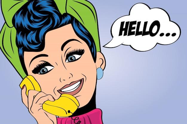 Pop art mignon rétro femme en comics style parlant au téléphone