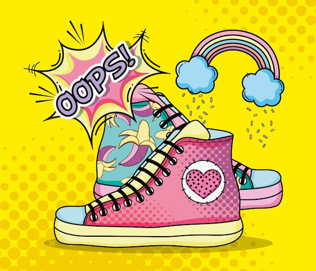 Pop art mode chaussures dessins animés