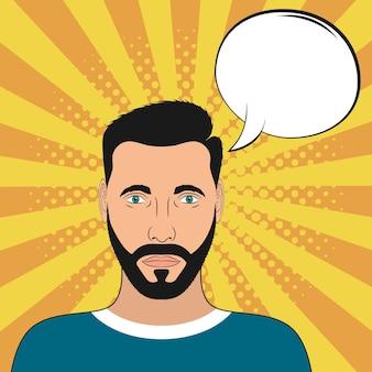 Pop art portrait masculin avec bulle de dialogue vierge homme comique à fond sunburst