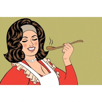 Pop art rétro femme avec tablier dégustation son vecteur alimentaire illustration