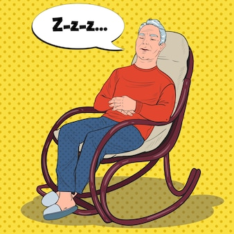 Pop art senior man sleeping in chair