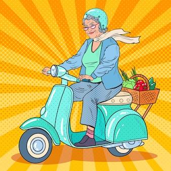 Pop art senior woman riding scooter
