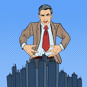 Pop art sinister businessman veut s'emparer de la ville.