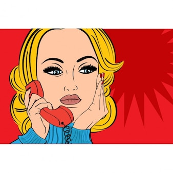 Pop art triste rétro femme dans la bande dessinée de style parlant au téléphone
