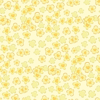 Pop-corn cirque cinéma restauration rapide savoureuse illustration vectorielle de modèle sans couture. fond de vecteur plat de nourriture sucrée de maïs soufflé. fond d'écran savoureux dessert au maïs malsain.