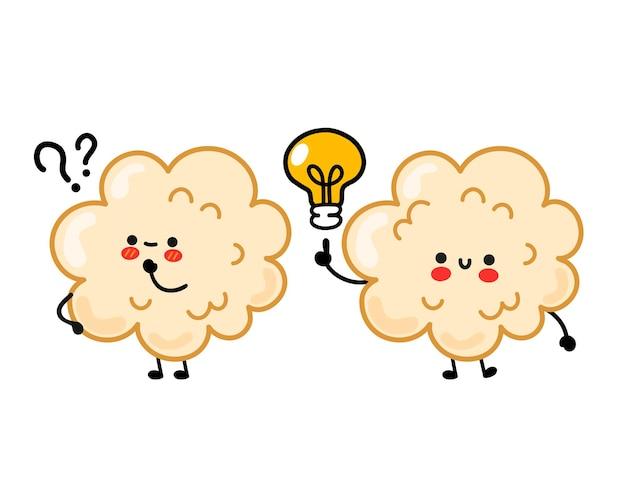 Pop-corn drôle heureux mignon avec point d'interrogation et ampoule d'idée. vector hand drawn cartoon kawaii character illustration autocollant logo icône. isolé sur fond blanc. concept de pop-corn heureux mignon