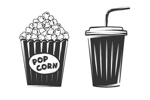 Pop corn et gobelet jetable isolé sur fond blanc