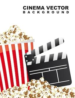 Pop corn avec illustration vectorielle de clapper board cinema