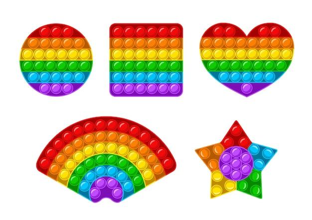 Pop it fidget set, jouet sensoriel anti-stress tendance isolé sur fond blanc. jeu d'enfants anti-stress de formes différentes. jouet à main coloré avec des bulles de poussée. illustration vectorielle en style cartoon plat