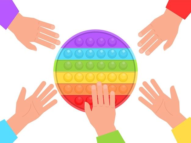 Pop it nouveau jouet coloré en silicone pour enfants populaire jouet sensoriel anti-stress coloré