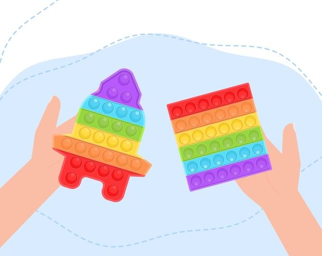 Pop it nouveau jouet coloré en silicone pour enfants populaire, les mains jouent avec un jouet antistress sensoriel