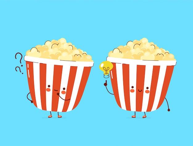 Popcorn heureux mignon avec point d'interrogation et caractère ampoule idée.
