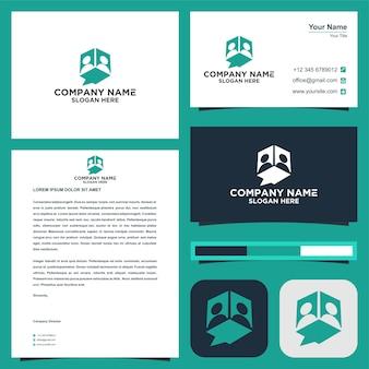 Pople et logo des médias sociaux et carte de visite