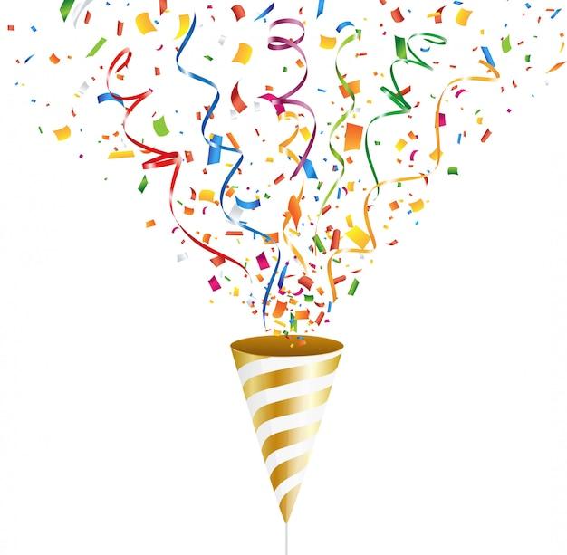Popper de fête doré avec confettis colorés et streamer. illustration.