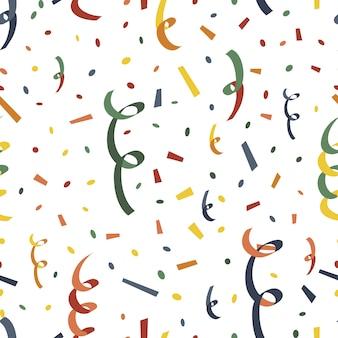 Popper parti avec serpantin et confettis sur un motif transparent blanc