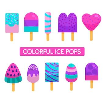 Pops de glace colorés