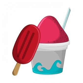 Popsicle et boisson glacée à la paille