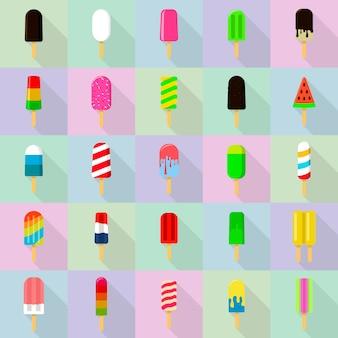 Popsicle icônes définies, style plat