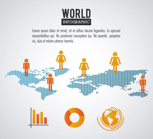 Population infographique du monde terrestre