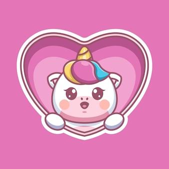 Popup de licorne mignon de dessin animé de coeur