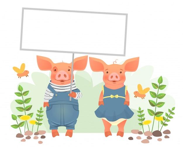 Porc mignon tenant une pancarte