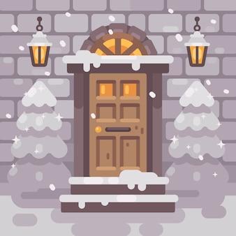 Porche d'hiver avec des sapins.