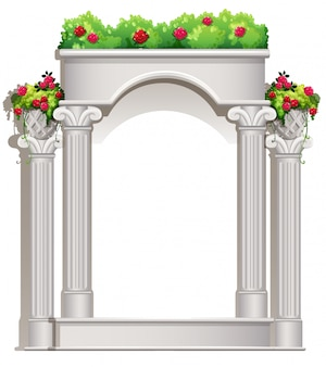 Un porche avec des plantes à fleurs
