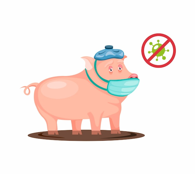 Les porcs malades ont de la fièvre et de la grippe portent un masque et une compresse fraîche virus bactérien infecté sur un cochon animal en illustration de dessin animé