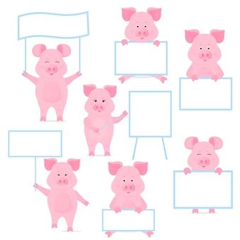 Les Porcs Tiennent Une Pancarte Vierge, Une Affiche Propre, Une Affiche Vide, Une Bannière. Cochon Drôle. Vecteur Premium