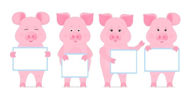 Les porcs tiennent une pancarte vierge, une affiche propre, une affiche vide, une bannière. porcelets drôles.