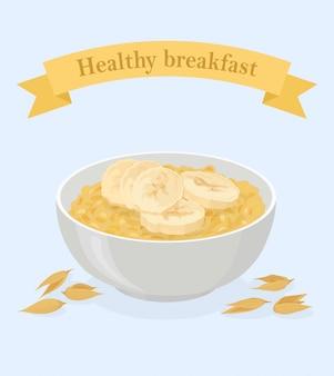 Porridge avoine dans un bol avec des bananes et des céréales