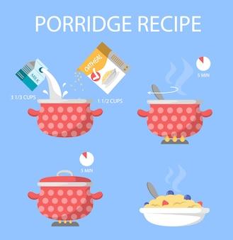Porridge pour la recette du petit déjeuner. cuisson à l'eau bouillante
