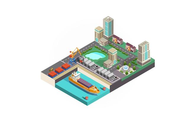 Port de fret d'élément de ville résidentielle isométrique de vecteur